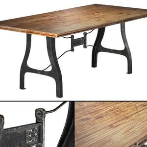table Nuevo V4 A Leg Small Dining   with Reclaimed Wood Top 3dmodel download free 86