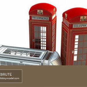 Red booth Bốt điện thoại  Download -3d Model - Free 3dmodels-  Maxbrute  1