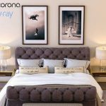 Burton eloise tufted sleigh bed vray and corona  giường 512