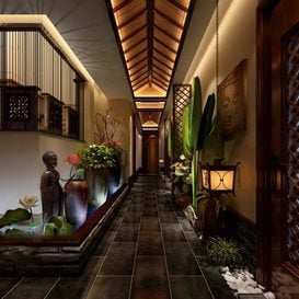 3d66 elevator-lobby-F002-southeast-asian-style -Download  free -3d Models Maxbrute