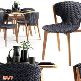 Ethimo knit Dining Set 115 3d model Download Maxbrute Furniture Visualization