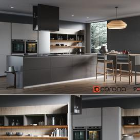 Pedini kitchen P45 3d model Download Maxbrute Furniture Visualization