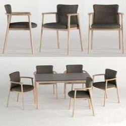 Bellevue Table & Lord Chair by Very Wood 3d model Download Maxbrute Furniture Visualization