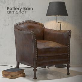 Pottery Barn armchair 3d model Download Maxbrute Furniture Visualization