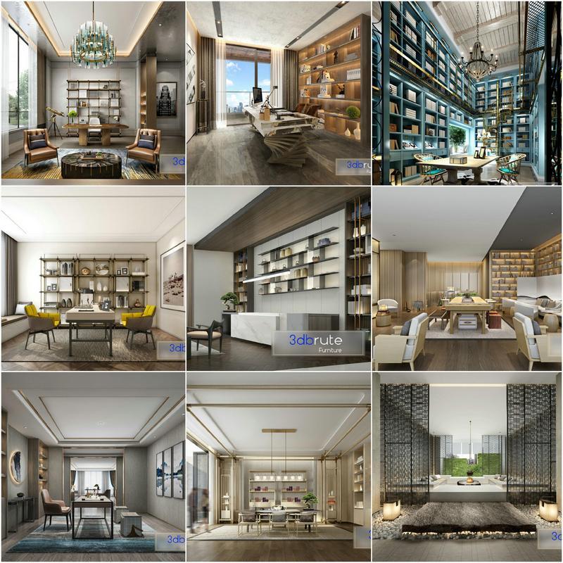 Study room vol4 2020 3d model Download Maxbrute Furniture Visualization
