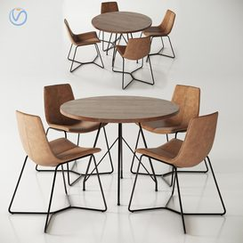 West Elm Jules Table and Slope Chairs 3d model 3dsmax  Download -Buy -Maxbrute Furniture