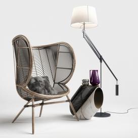 Greige Design Olaf Chair Set 3d model Download Maxbrute Furniture Visualization